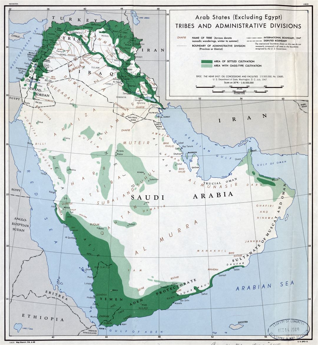 Large detailed Arab States (Excluding Egypt) tribes and administrative divisions map - 1947