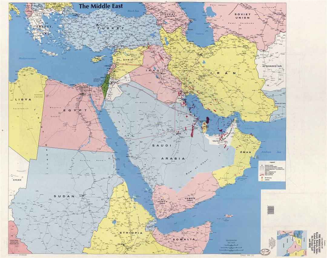 Large detailed map of the Middle East, Kuwait, Bahrain, Qatar, United Arab Emirates, the Persian Gulf and Iraq - 1991