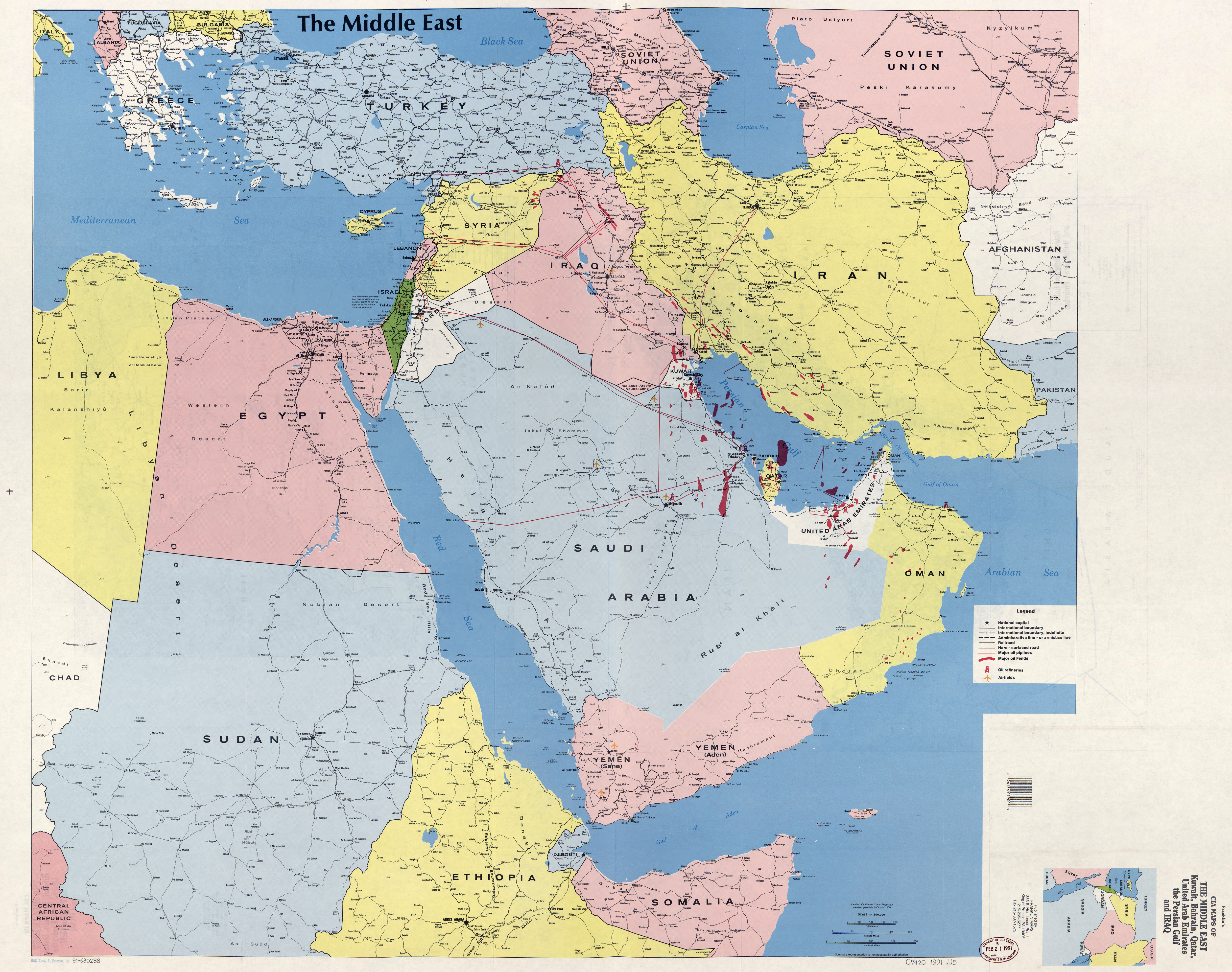 Large detailed map of the Middle East Kuwait Bahrain Qatar