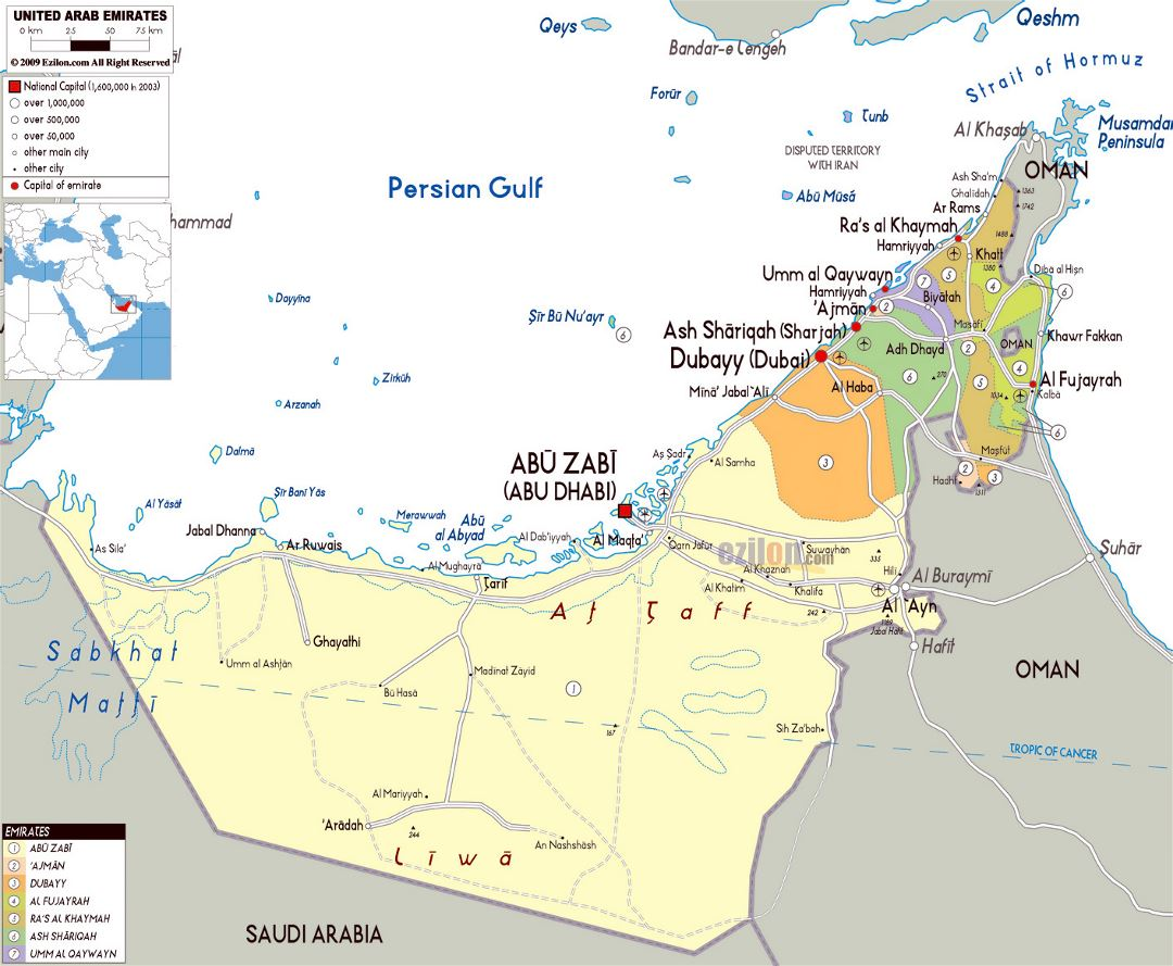 Large political map of UAE with all roads, cities and airports