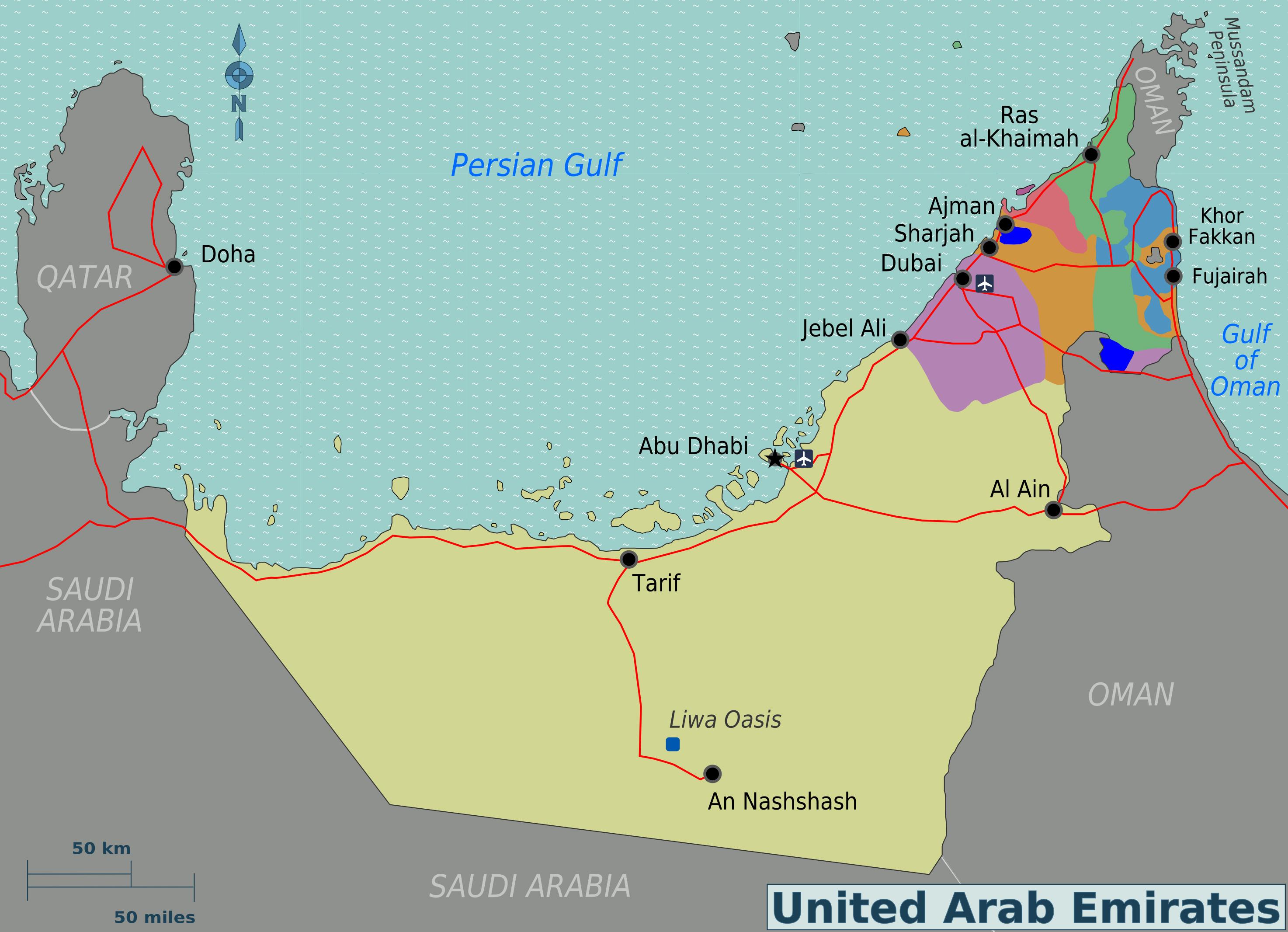 large regions map of uae