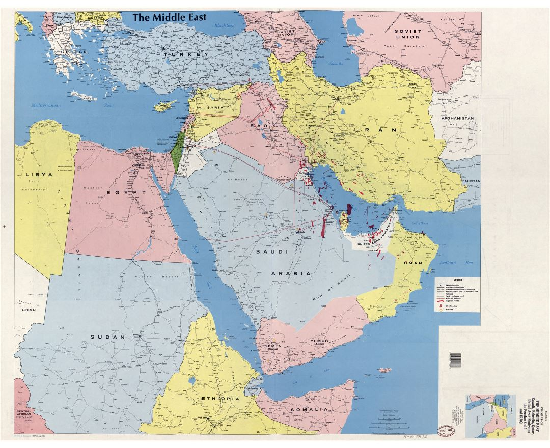 large scale political map of the middle east with major cities - 28 ...
