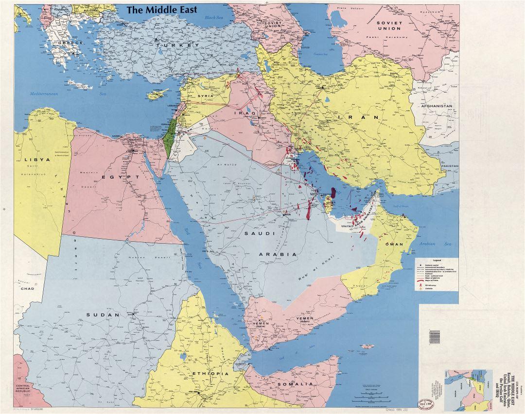 Large scale detailed map of the Middle East, Kuwait, Bahrain, Qatar, United Arab Emirates, the Persian Gulf and Iraq - 1991