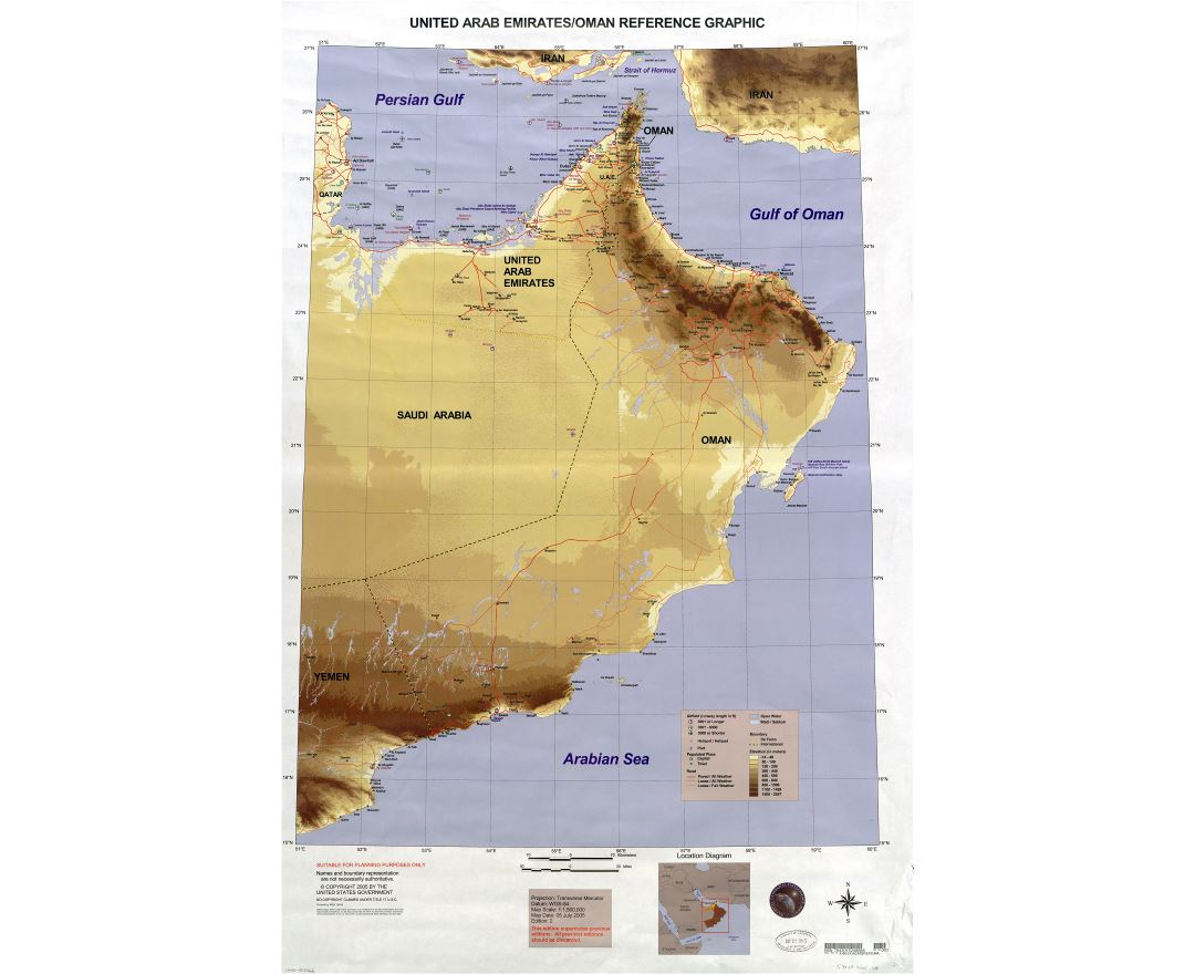 large scale detailed united arab emirates and oman reference graphic map 2005