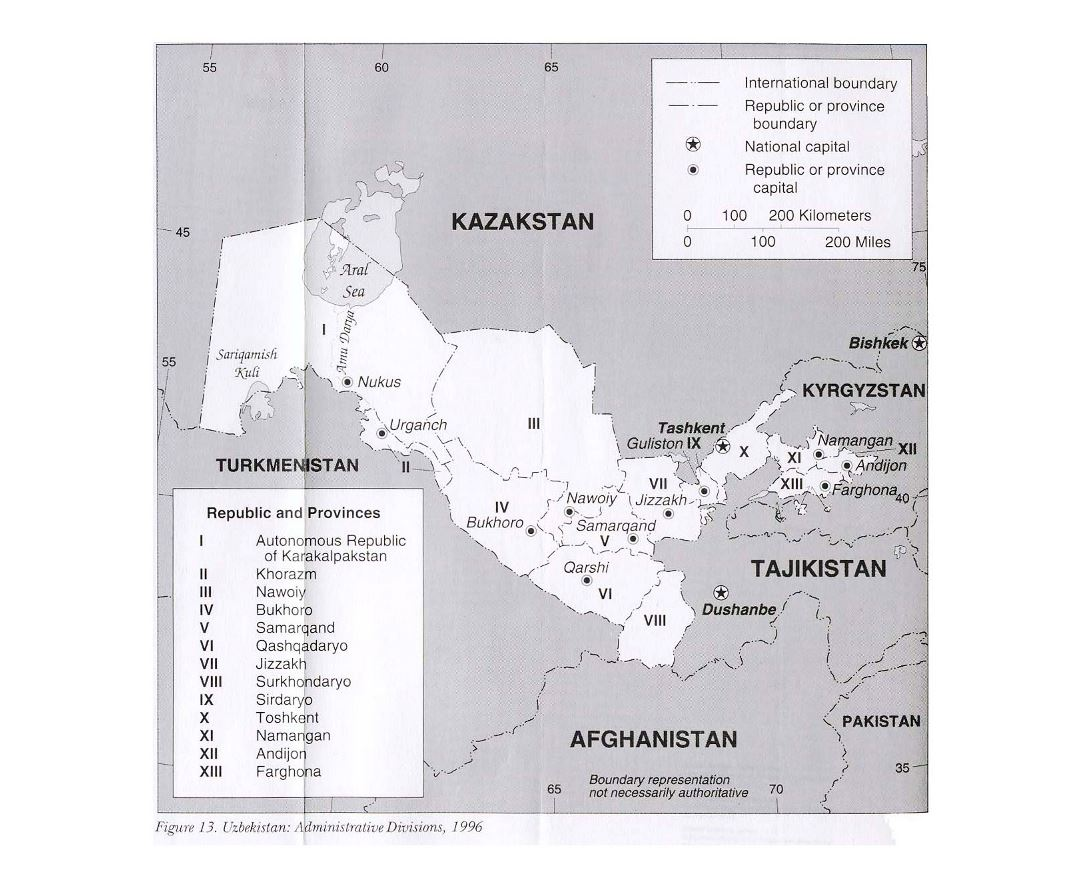 Detailed administrative divisions map of Uzbekistan - 1996