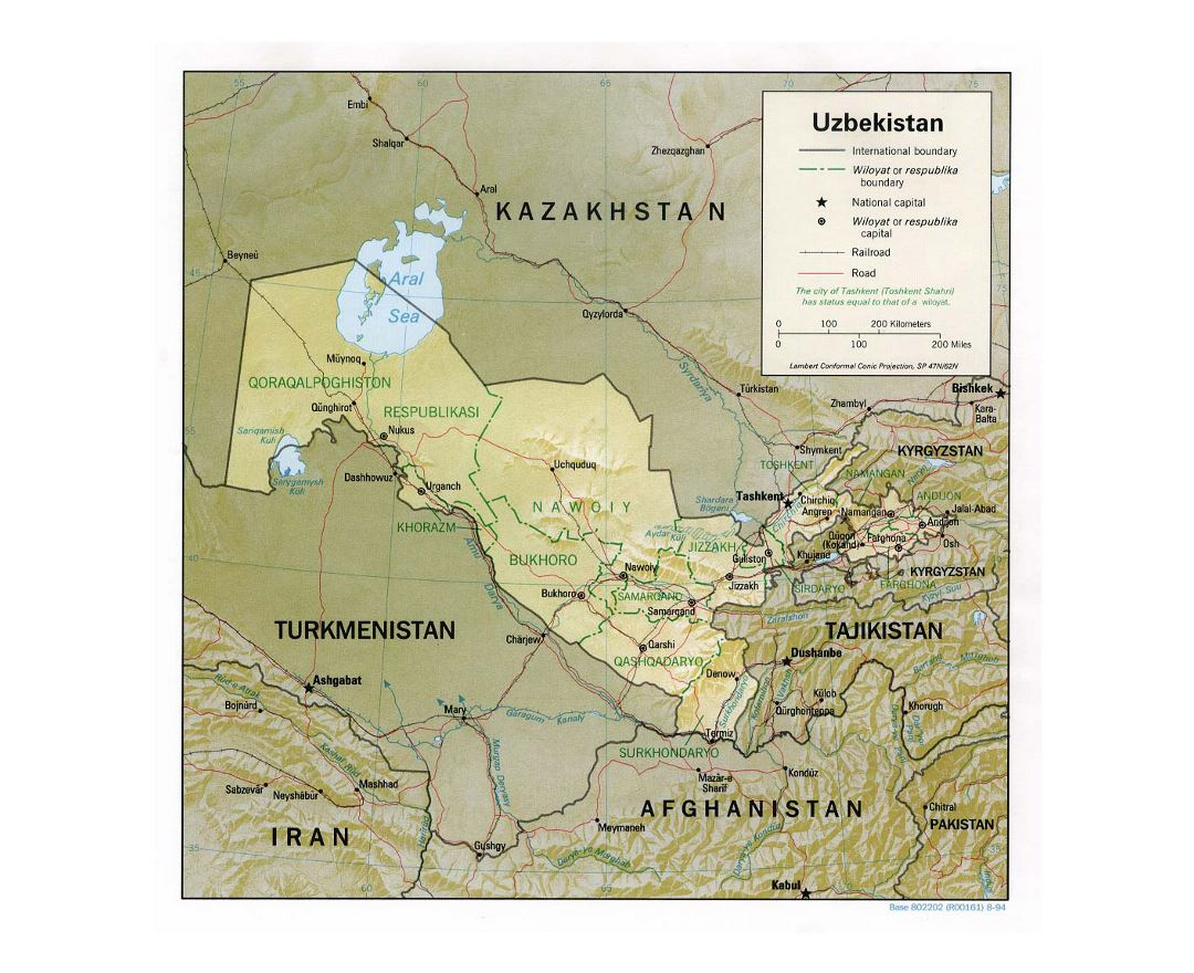 Detailed political and administrative map of Uzbekistan with relief, roads, railroads and major cities - 1994