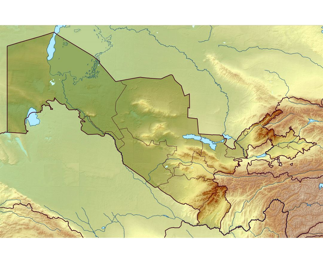 Detailed relief map of Uzbekistan
