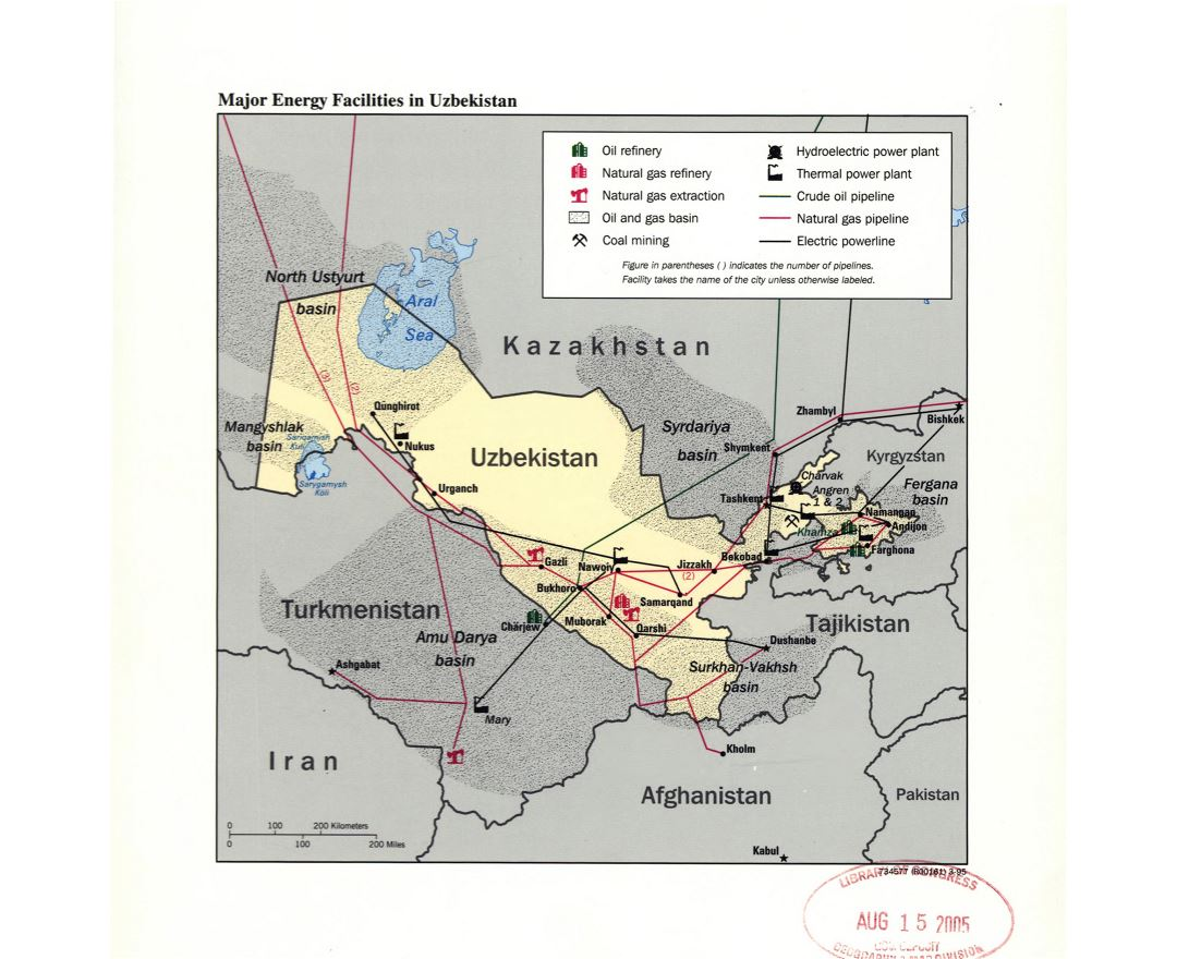 Large detailed major energy facilities map of Uzbekistan - 1995