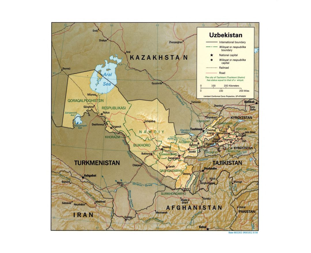Large detailed political and administrative map of Uzbekistan with relief, roads, railroads and major cities - 1994