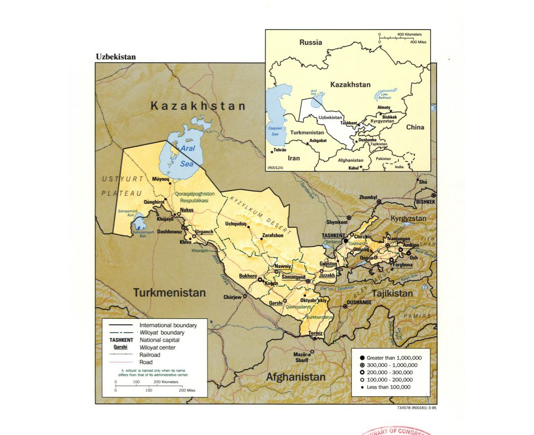 Large detailed political and administrative map of Uzbekistan with relief, roads, railroads and major cities - 1995