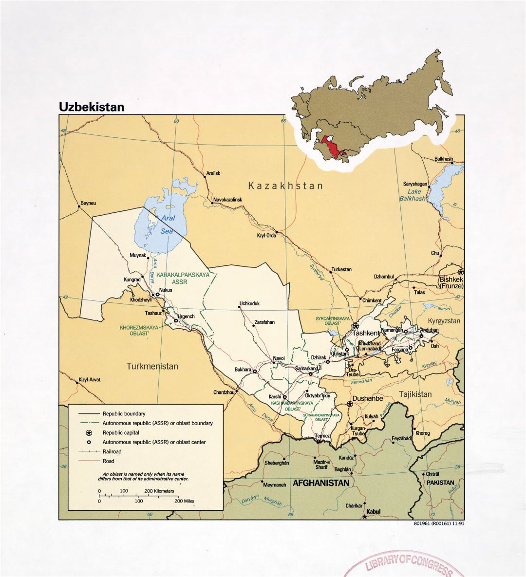 Large detailed political and administrative map of Uzbekistan with roads, railroads and major cities - 1991