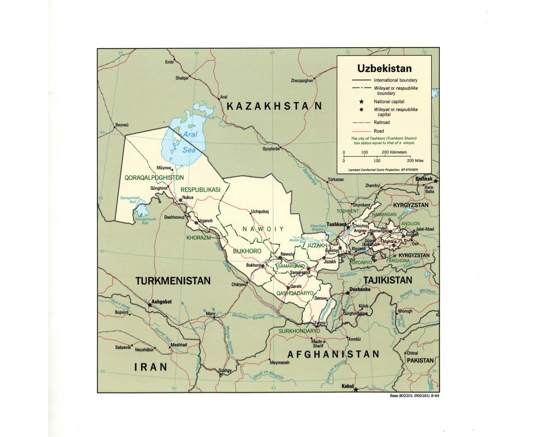 Large detailed political and administrative map of Uzbekistan with roads, railroads and major cities - 1994