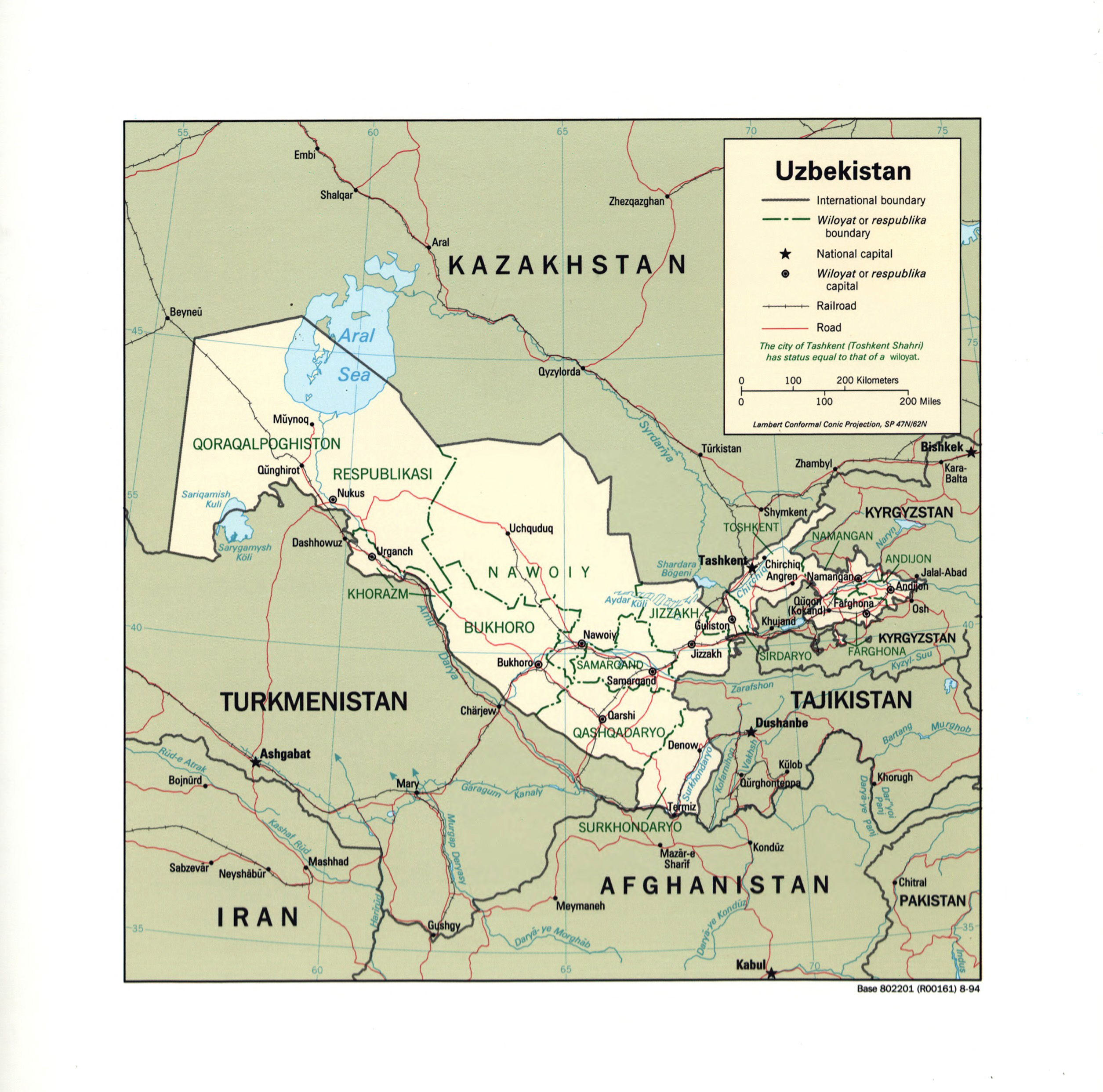 Large detailed political and administrative map of Uzbekistan with
