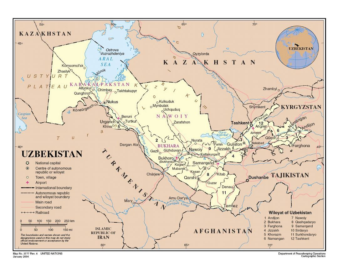 Large detailed political and administrative map of Uzbekistan with roads, railroads, cities and airports