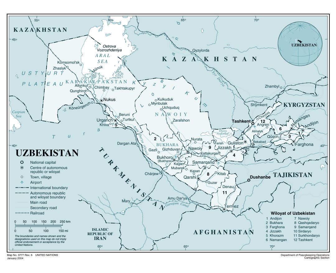 Large detailed political and administrative map of Uzbekistan with roads, railroads, major cities and airports