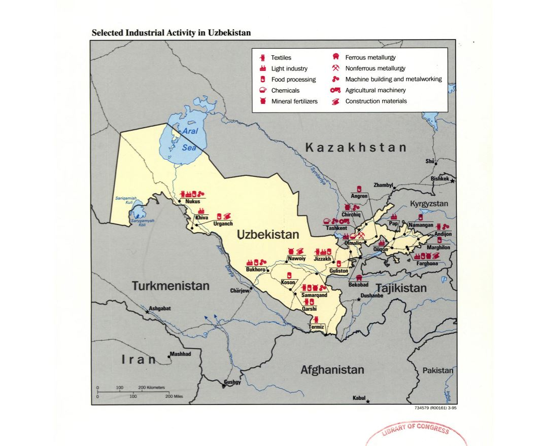 Large detailed selected industrial activity map of Uzbekistan - 1995