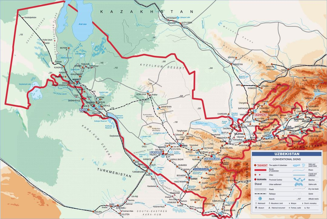 Large elevation map of Uzbekistan with all roads, railroads, cities and airports