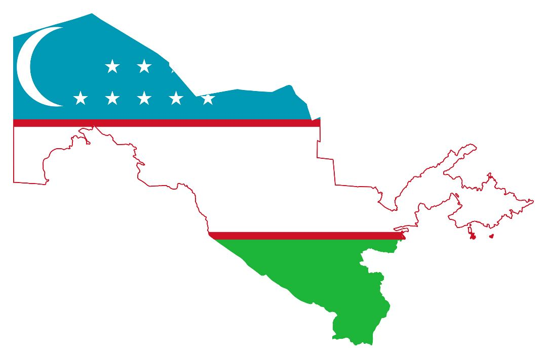 Large flag map of Uzbekistan
