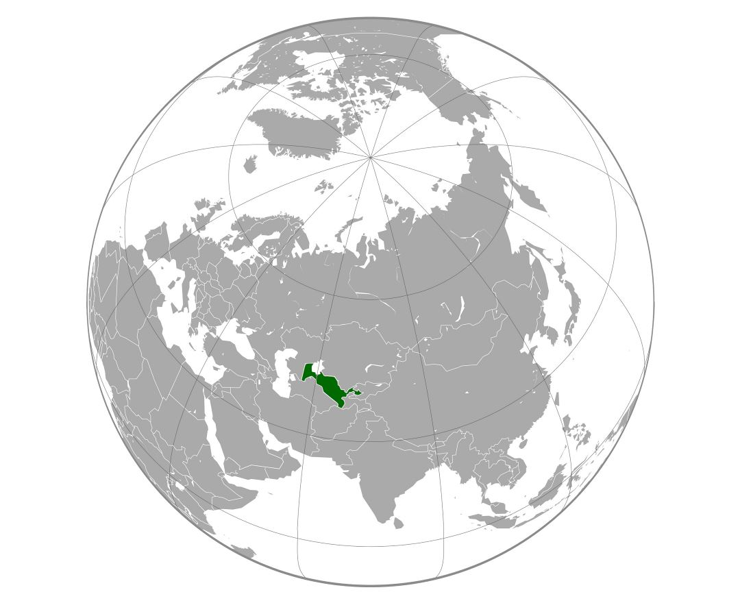 Large location map of Uzbekistan