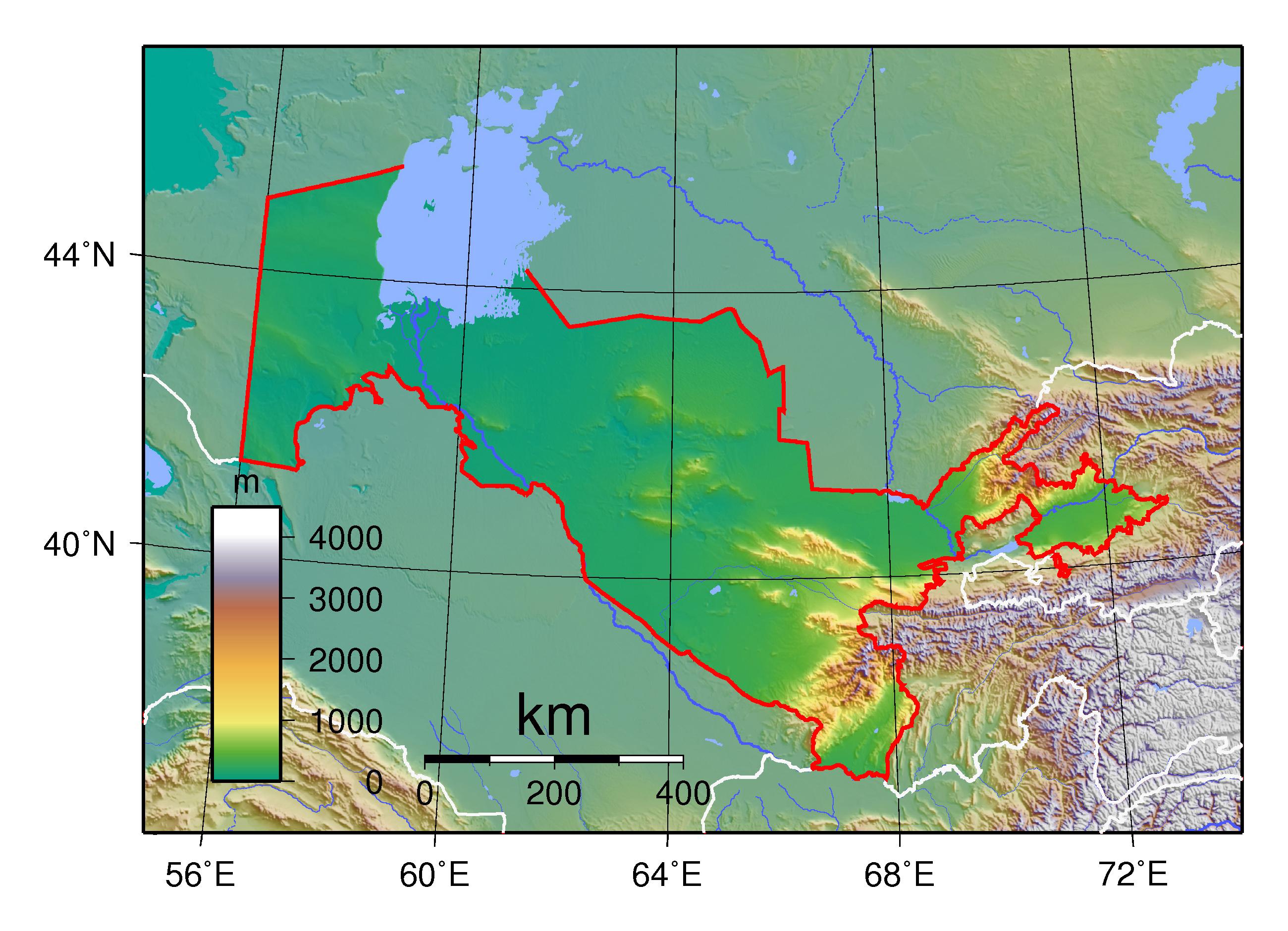 Large physical map of uzbekistan uzbekistan asia mapsland large physical map of uzbekistan gumiabroncs Images