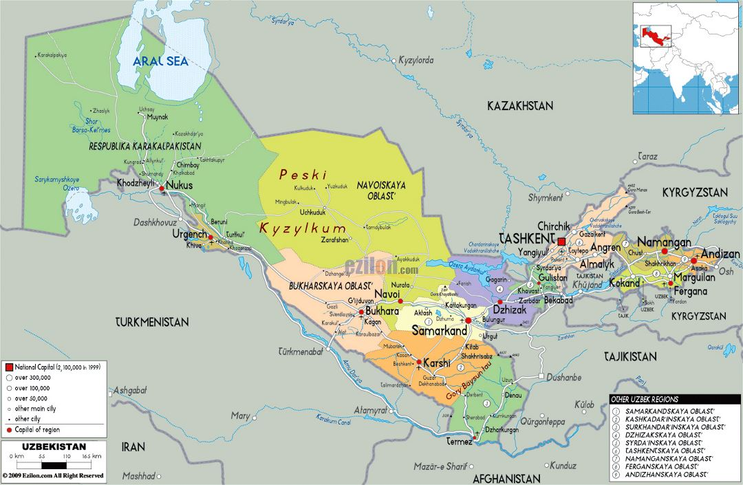 Large political and administrative map of Uzbekistan with roads, cities and airports