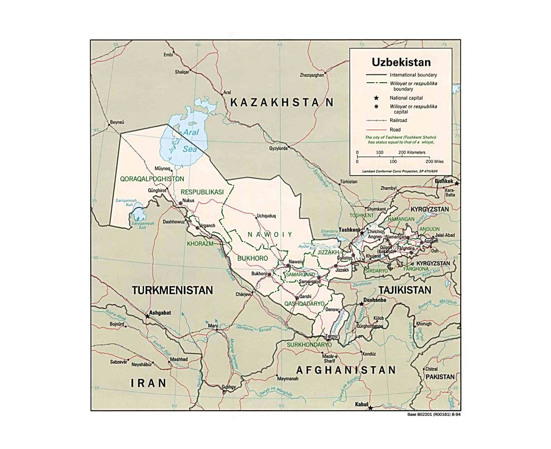 Large political and administrative map of Uzbekistan with roads, railroads and major cities - 1994