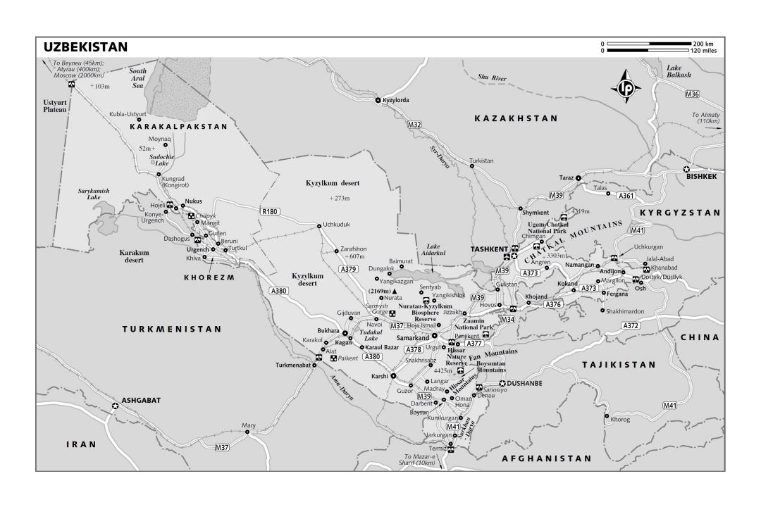 Large political and administrative map of Uzbekistan with roads, railroads, cities and other marks