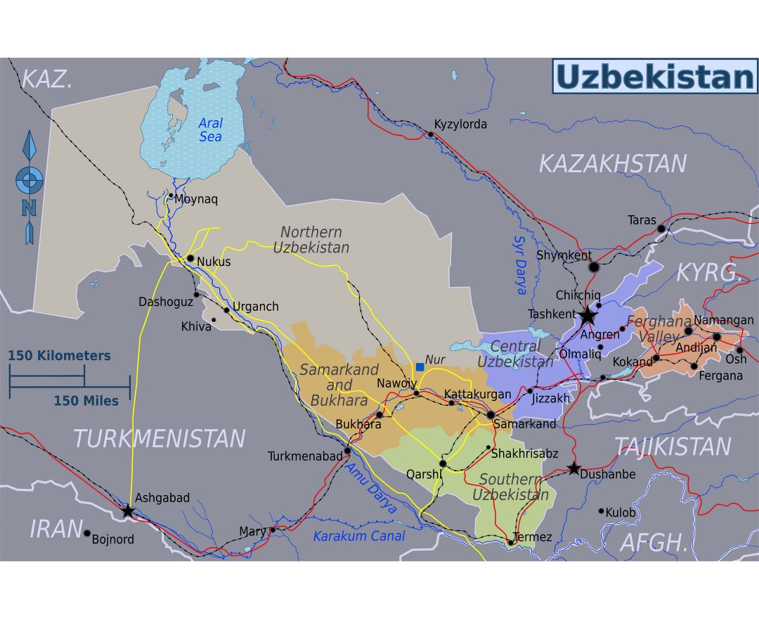 Large regions map of Uzbekistan