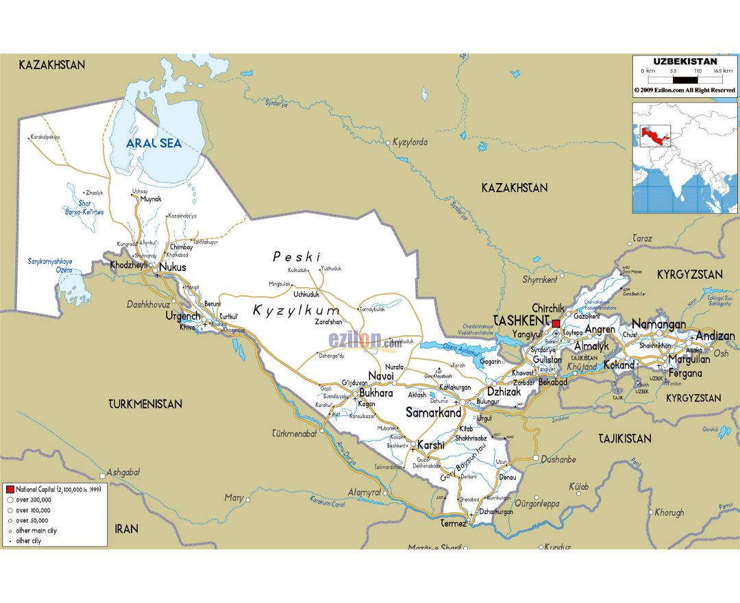 Large road map of Uzbekistan with cities and airports