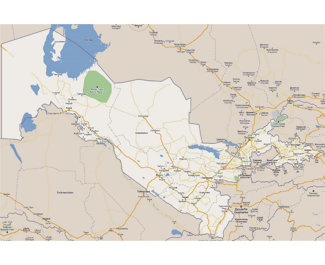 Large road map of Uzbekistan with national parks and cities