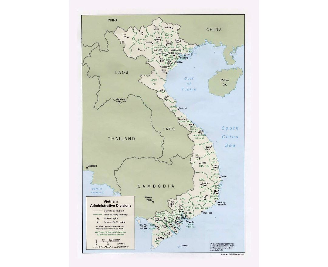 Detailed administrative divisions map of Vietnam - 1992