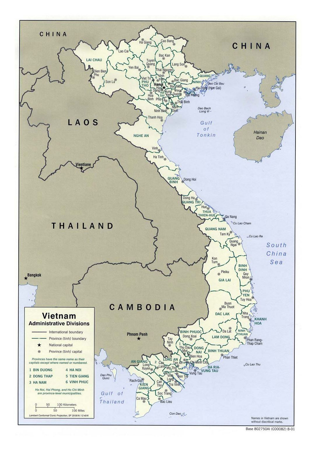 Detailed administrative divisions map of Vietnam - 2001