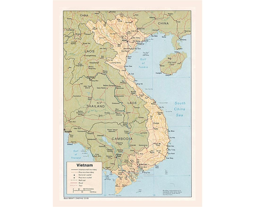 Detailed political and administrative map of Vietnam with relief, roads, railroads and major cities - 1985