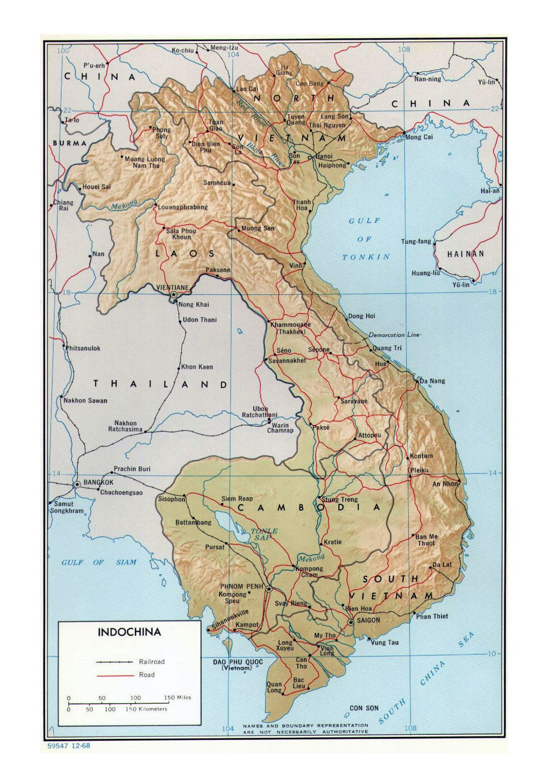 Detailed political map of Indochina with relief, roads, railroads and major cities - 1968