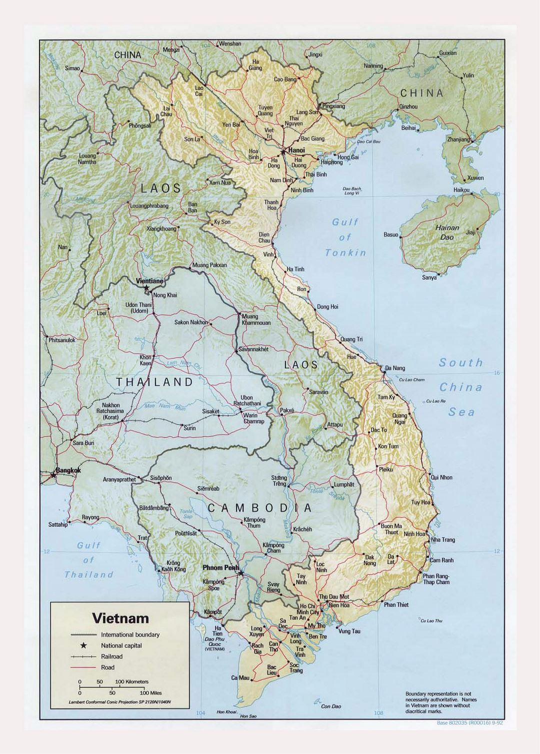 Detailed political map of Vietnam with relief, roads, railroads and major cities - 1992