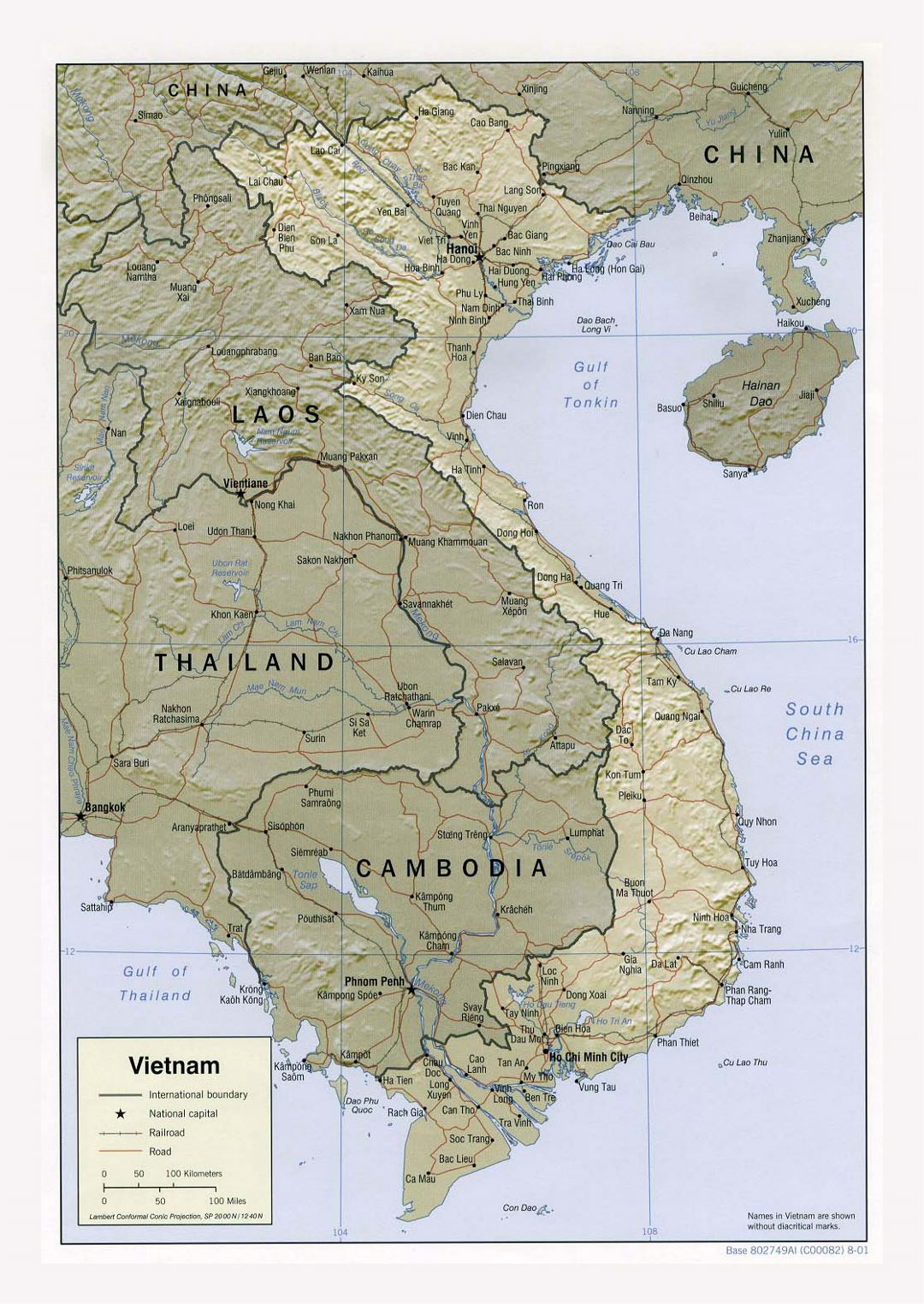 Detailed political map of Vietnam with relief, roads, railroads and major cities - 2001