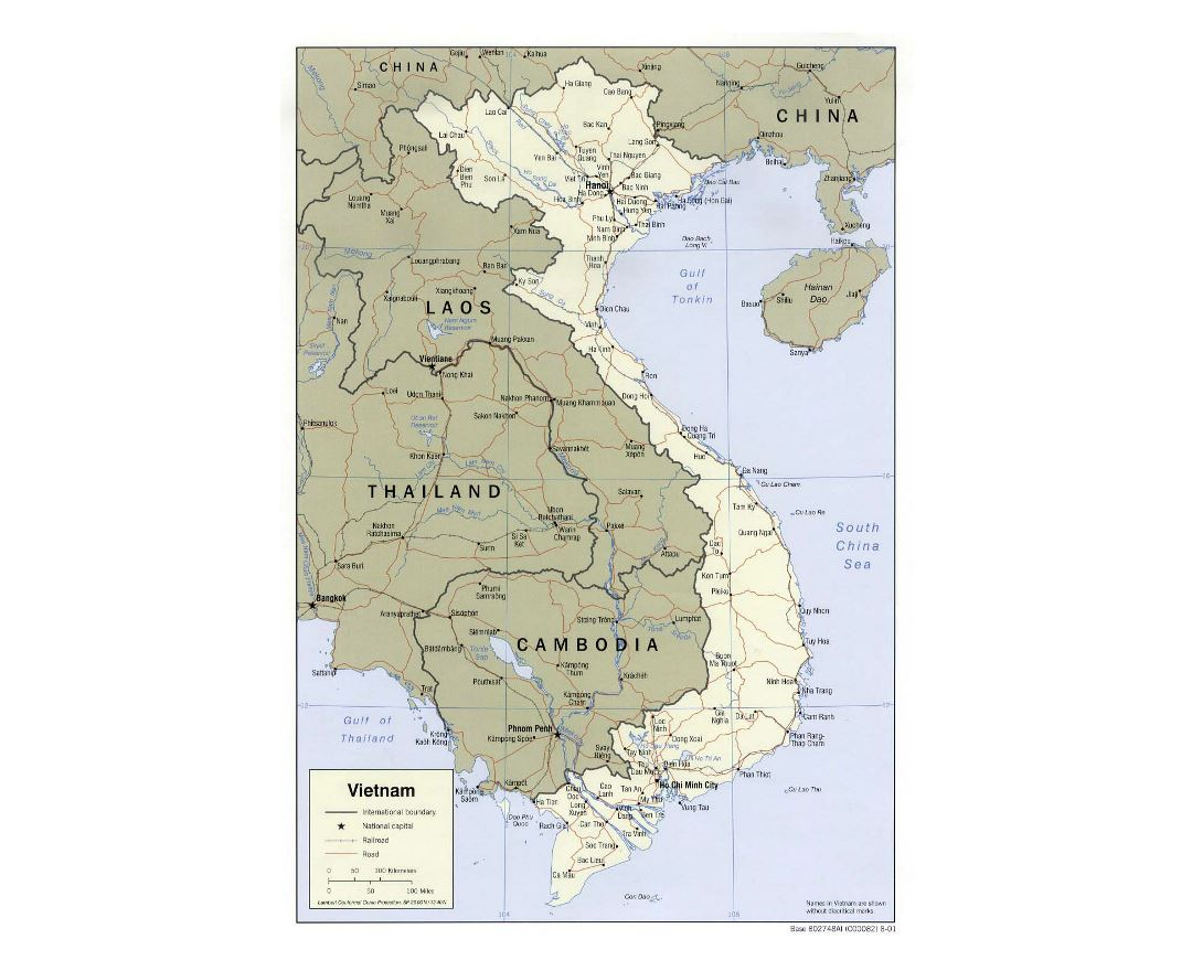 Detailed political map of Vietnam with roads, railroads and major cities - 2001