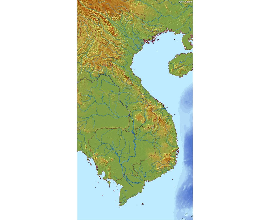 Detailed relief map of Vietnam