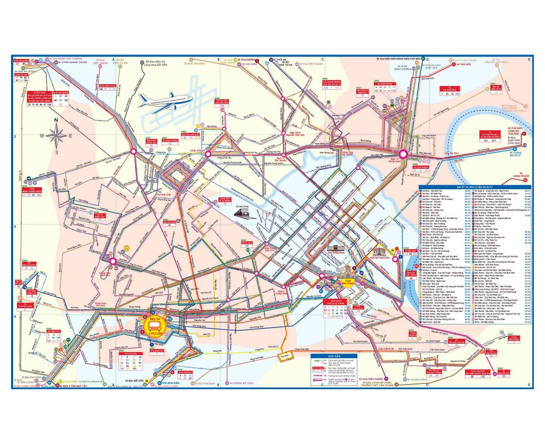 Large detailed city bus map of Ho Chi Minh city