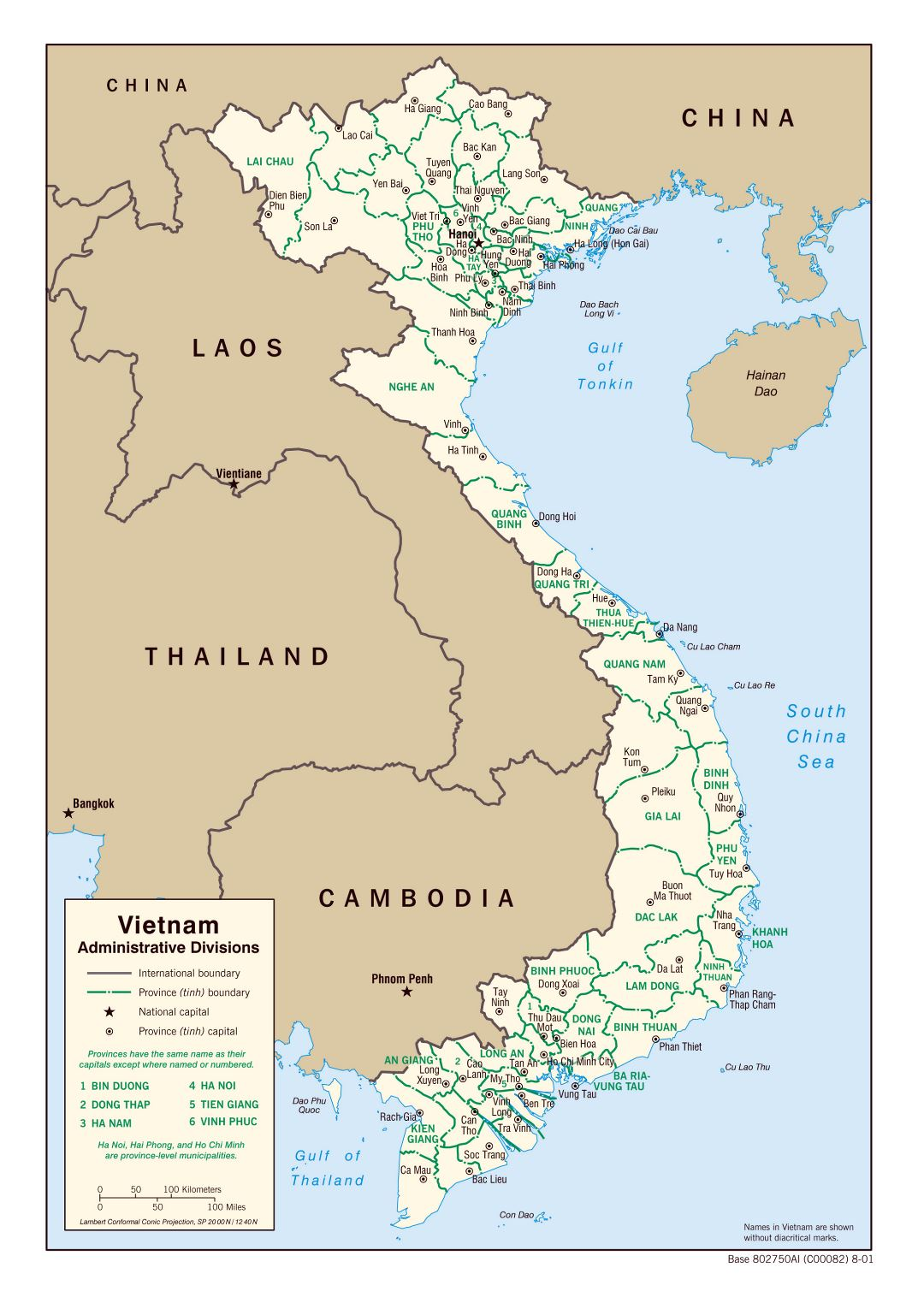 Large administrative divisions map of Vietnam - 2001