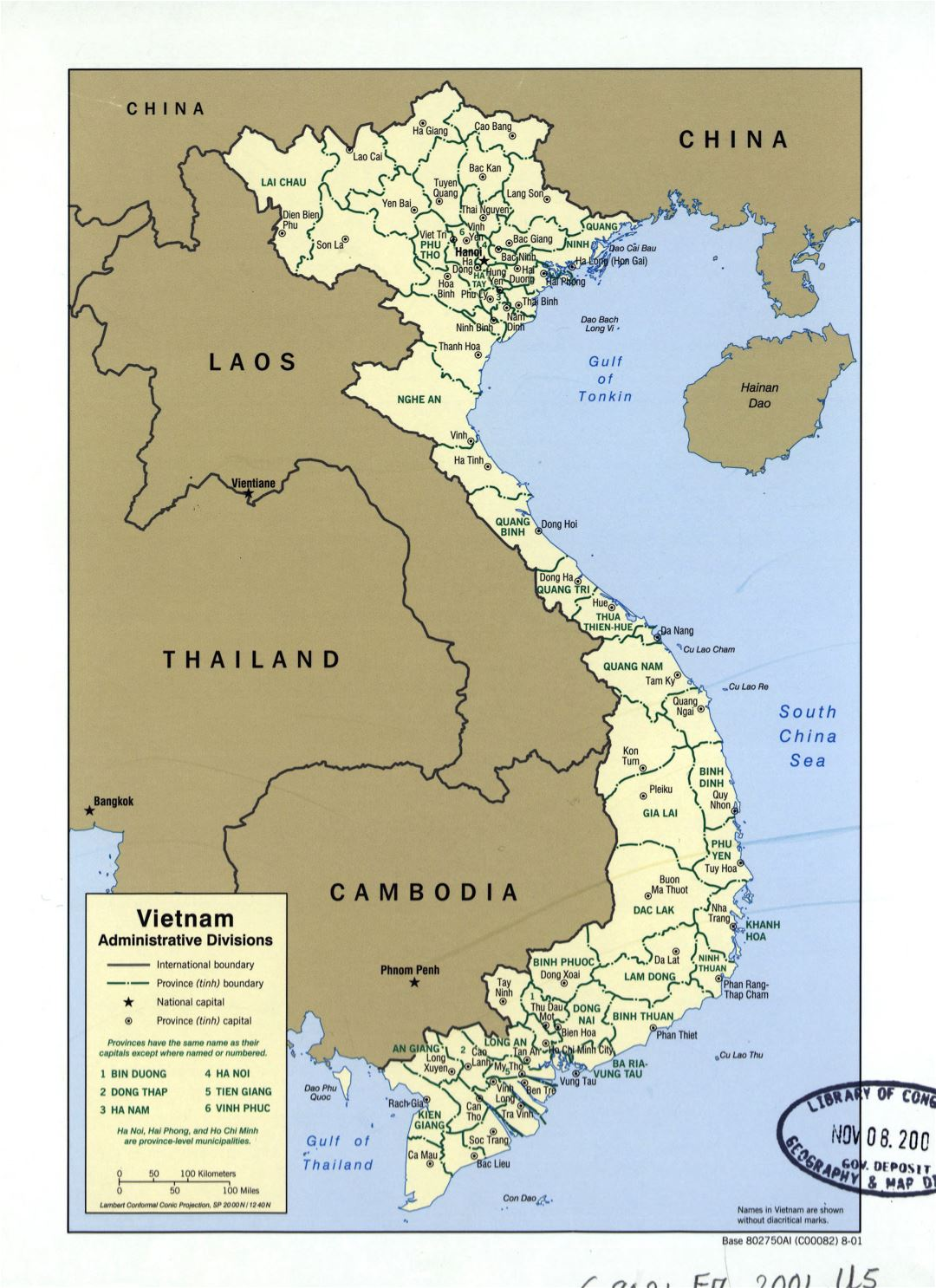 Large detailed administrative divisions map of Vietnam - 2001