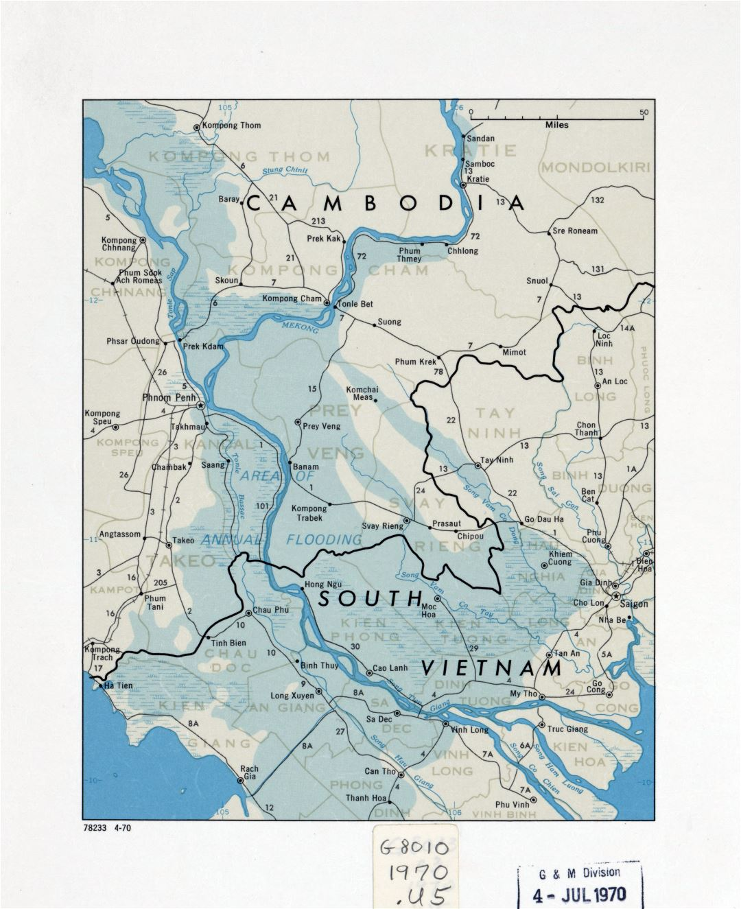 Large Detailed Cambodia And South Vietnam Map