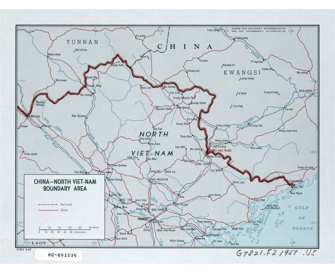 Large detailed China - North Viet-Nam boundary area map - 1967
