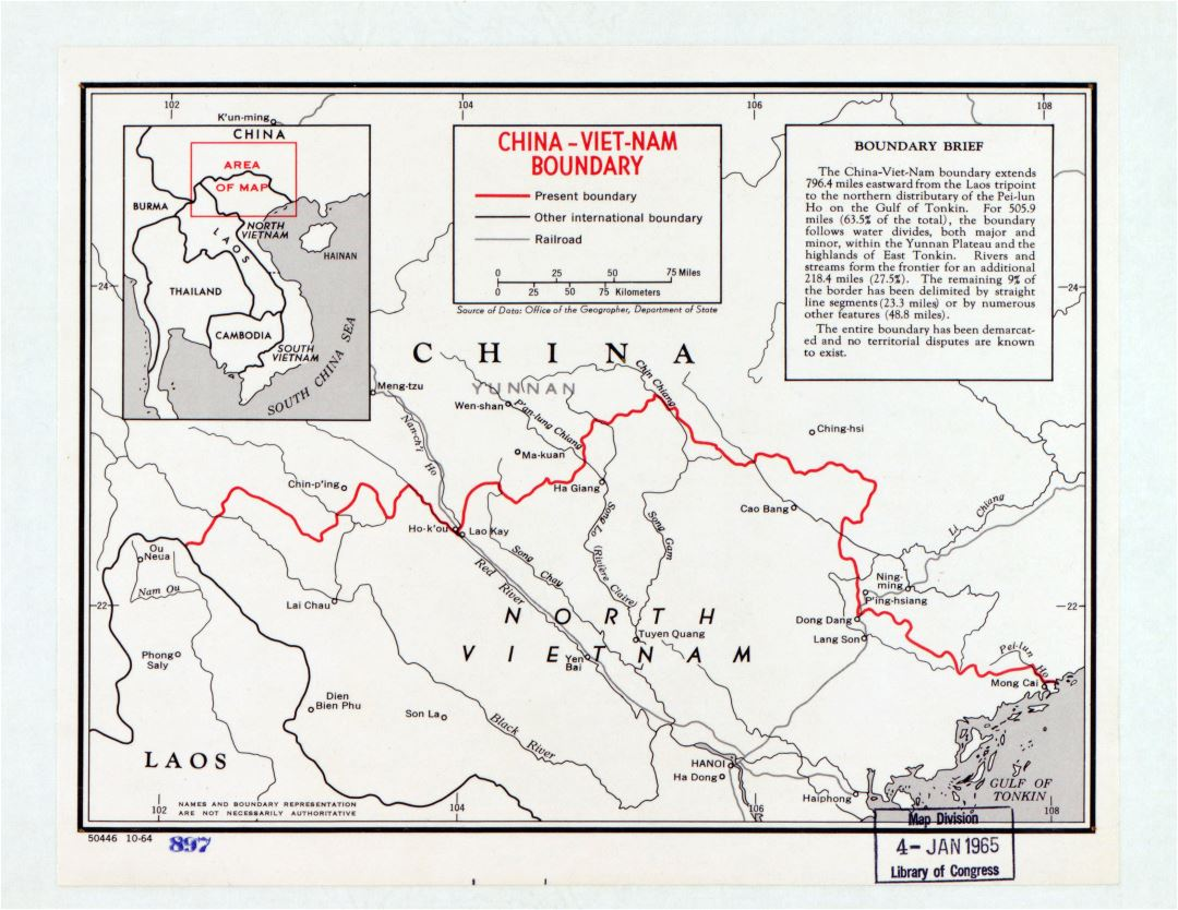 Large detailed China - North Vietnam border area map - 1964