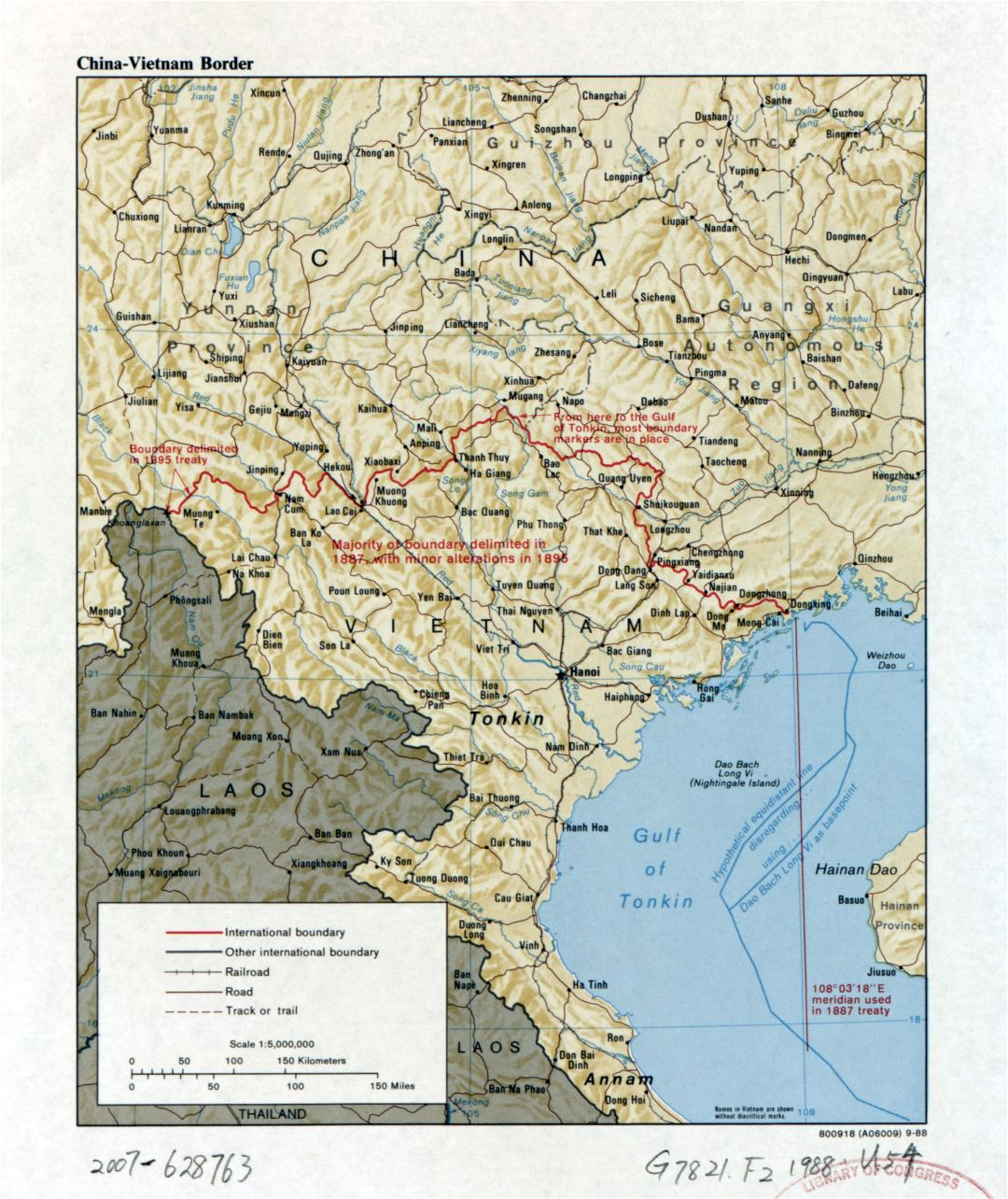 Large detailed China - Vietnam border map with relief, roads, railroads and major cities - 1988