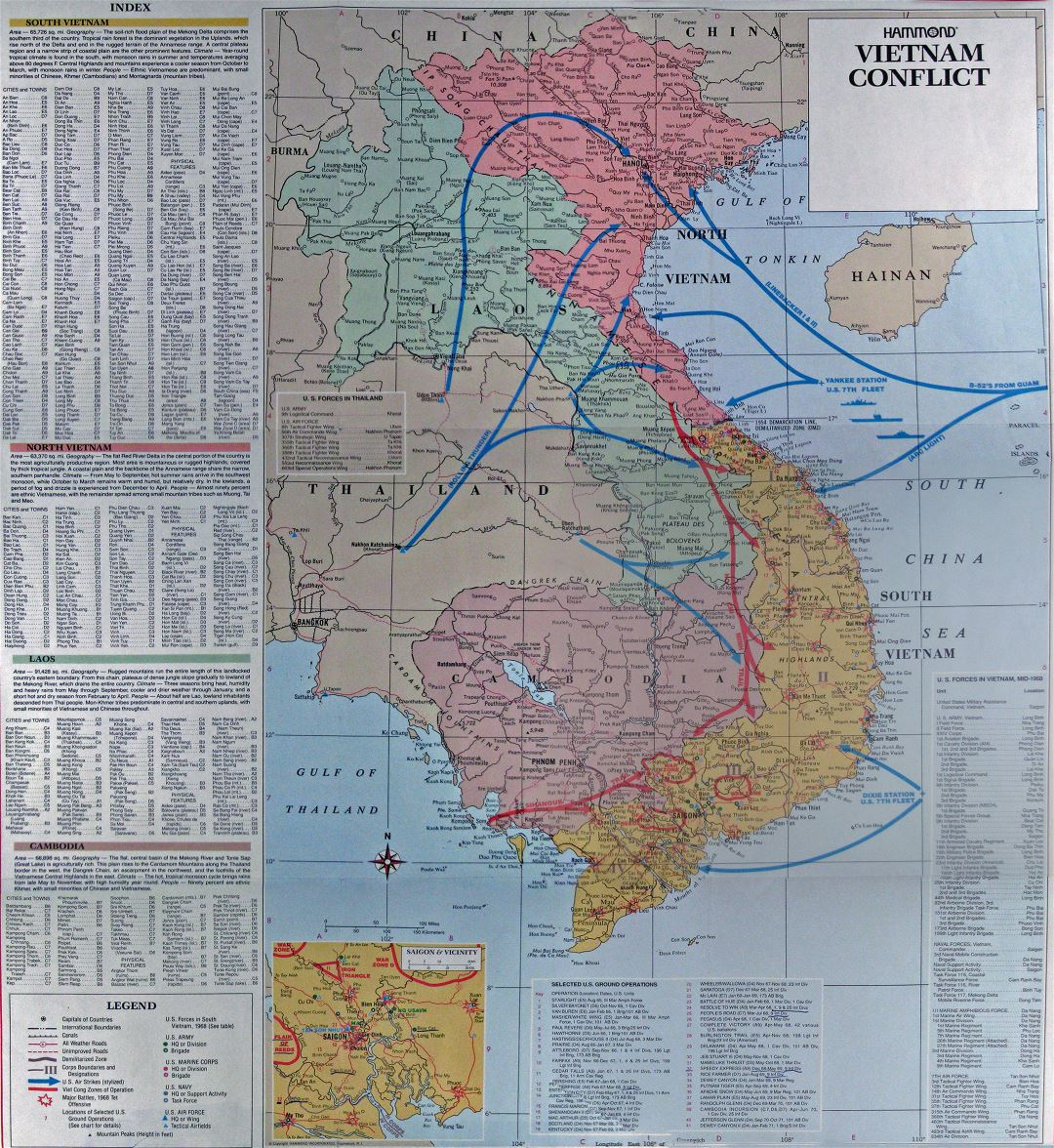 Large detailed map of the Vietnam Conflict