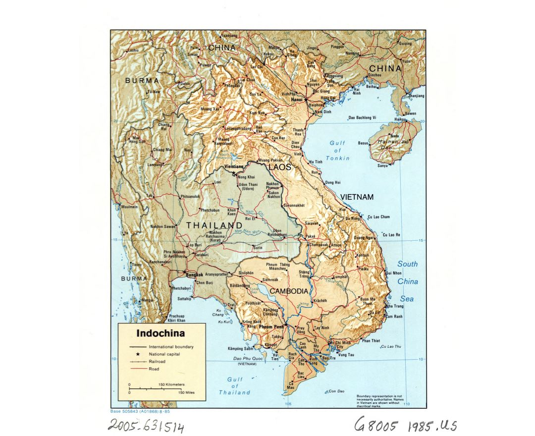 Large detailed political map of Indochina with relief, roads, railroads and major cities - 1985