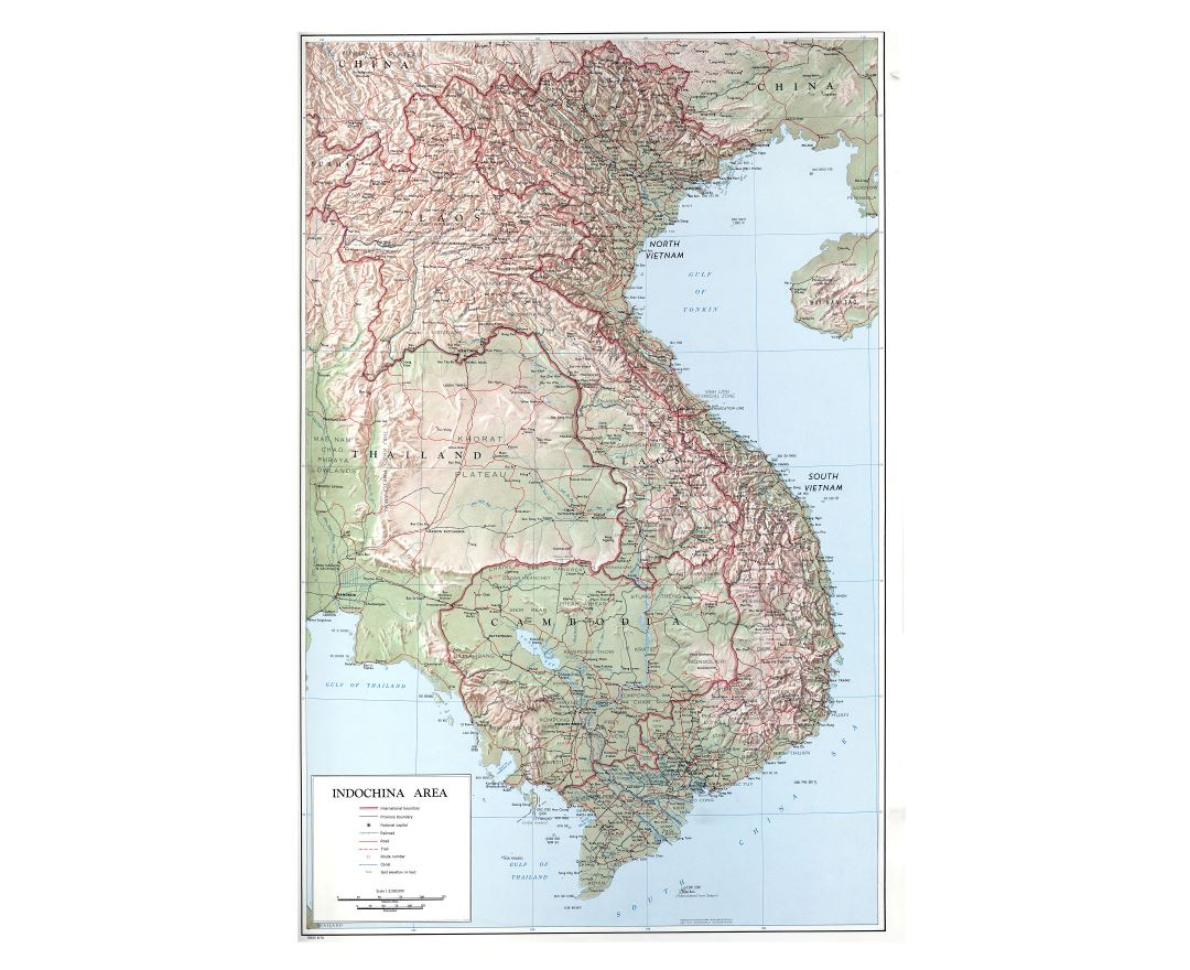 Large detailed political map of Indochina with relief, roads, railroads, cities and other marks - 1970
