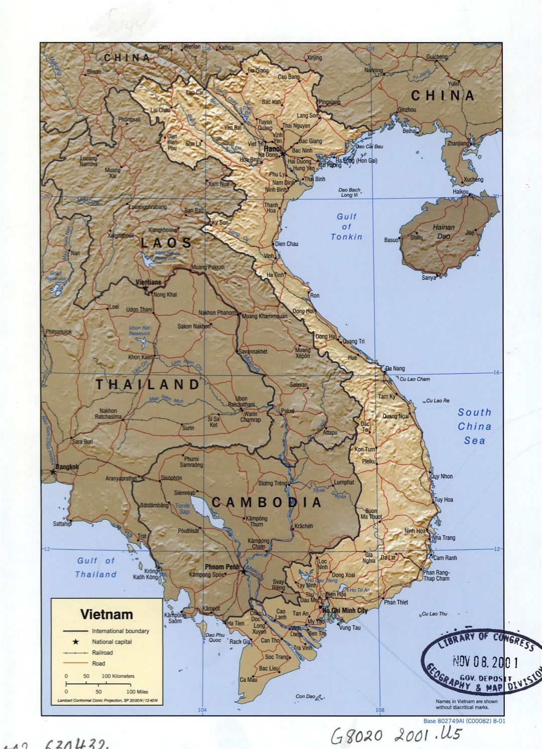 Large detailed political map of Vietnam with relief, roads, railroads and major cities - 2001