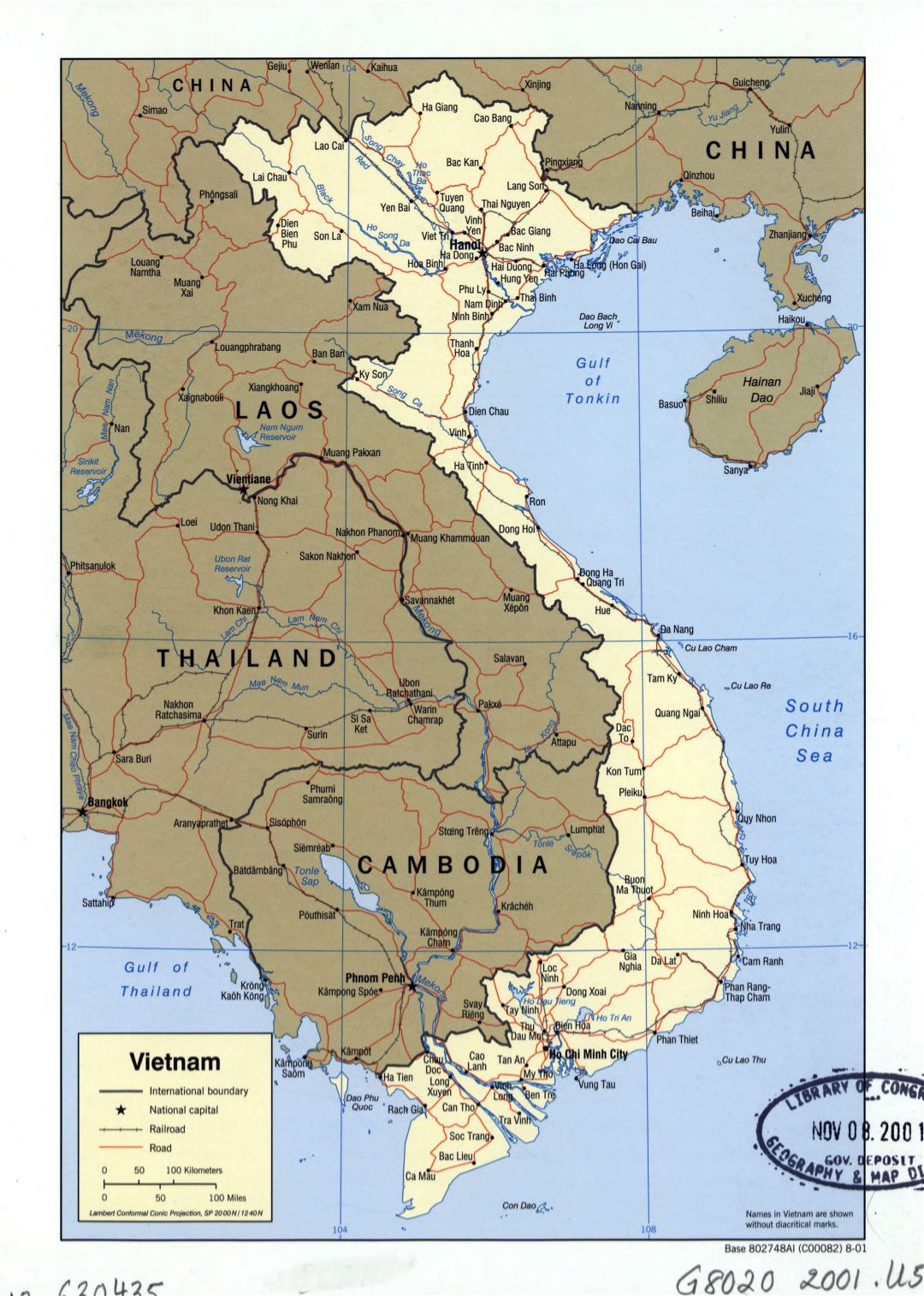 Large detailed political map of Vietnam with roads, railroads and major cities - 2001